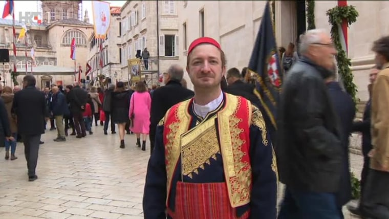 Cristiano Pambianchi u župskoj nošnji na Festi sv. Vlaha (Foto: HRT)