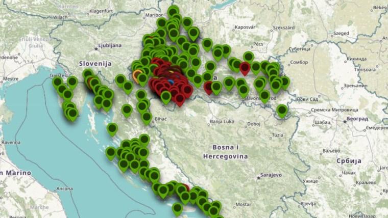 Illustration (Foto: Screenshot der Übersichtskarte von Hilfsangeboten und -gesuchen auf dem Portal potres2020.openit.hr)
