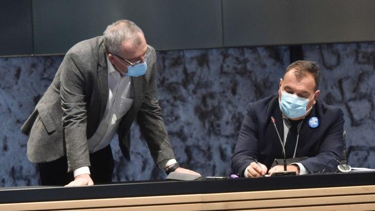 Director of the Croatian Institute for Public Health Krunoslav Capak (L) Health Minister Vili Beroš (R) (Photo: Davorin Visnjic/PIXSELL)