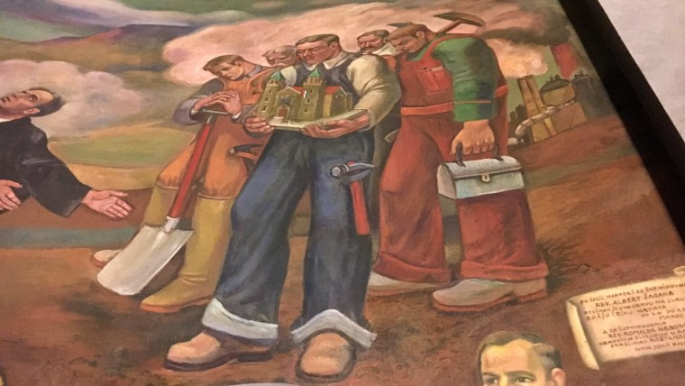 "Freska ""Hrvati u Americi"" (Foto: Franjo Bertović)"