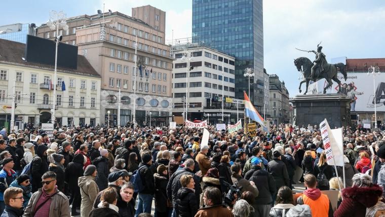 Demonstration in Zagreb (Foto: HRT)