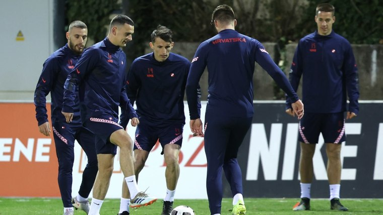 Croatia practice ahead of their match against Slovenia in Ljubljana on Wednesday (Photo: Marko Prpic/PIXSELL)