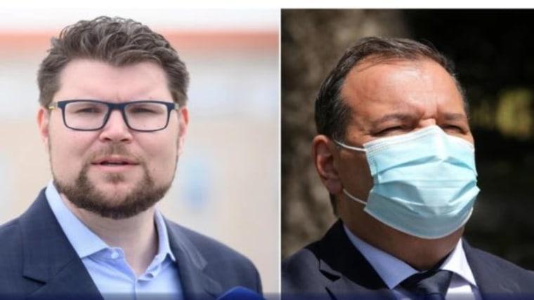 SDP Vorsitzender Peđa Grbin und Gesundheitsminister Vili Beroš (Foto: Dino Stanin/Goran Kovacic / PIXELL)