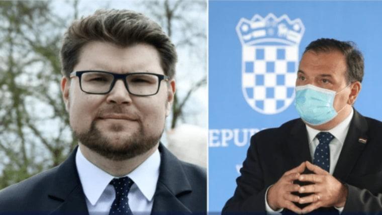 Der Vorsitzende der Sozialdemokratischen Partei Peđa Grbin und der Gesundheitsminister Vili Beroš (Foto: Nikola Cutuk / Zeljko Lukunic / PIXSELL)