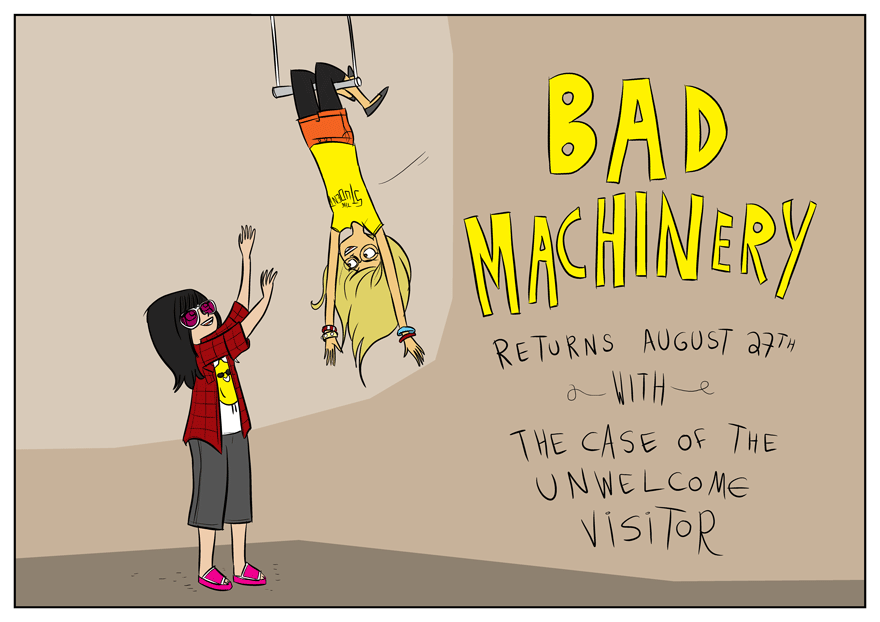 Bad Machinery returns August 27th with The Case of the Unwelcome Visitor