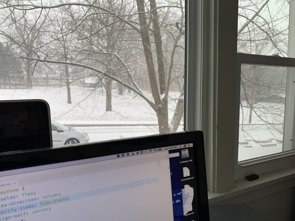 View from Ryan's window of a beautiful snowy park