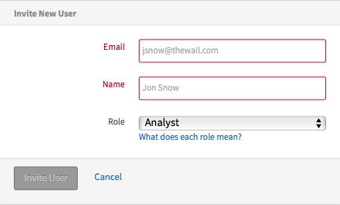 Screenshot of Mailgun new user placeholder. Email: 'jsnow@thewall.com'. Name: 'Jon Snow'.