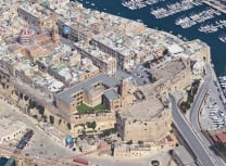 An aerial view of the Senglea Gate, once the fortified city's only entrance (Courtesy of GHRC)