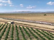Artist's impression of the high-speed train in California's Central Valley (Courtesy of the California High-Speed Rail Authority)