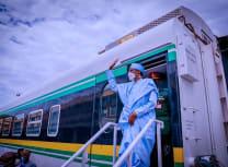 Nigerian President Muhammadu Buhari flagging off the new, Chinese-built Lagos-Ibadan Standard Gauge Railway on 10 June (From the Facebook page of President Muhammadu Buhari)