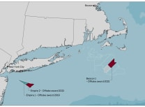 Map shows the location of the Empire Wind (1 and 2) and Beacon Wind 1 schemes, together comprising 3.3GW of generating capacity (Equinor)