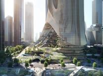 Render of ZHA's design for Shenzhen Tower C (Render by Brick Visual)