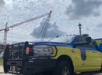 It took crews a number of hours to disentangle the cranes, said reports (From a video posted to Facebook by  Austin-Travis County Emergency Medical Services)