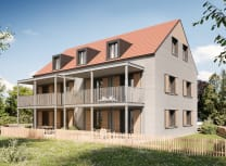 Artist's render of the three-storey apartment building in Wallenhausen, Germany, when complete (Courtesy of Cobod)