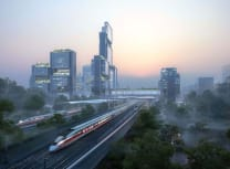 The new district will be located on the Hong Kong-to-Guangzhou high-speed line (Foster + Partners)