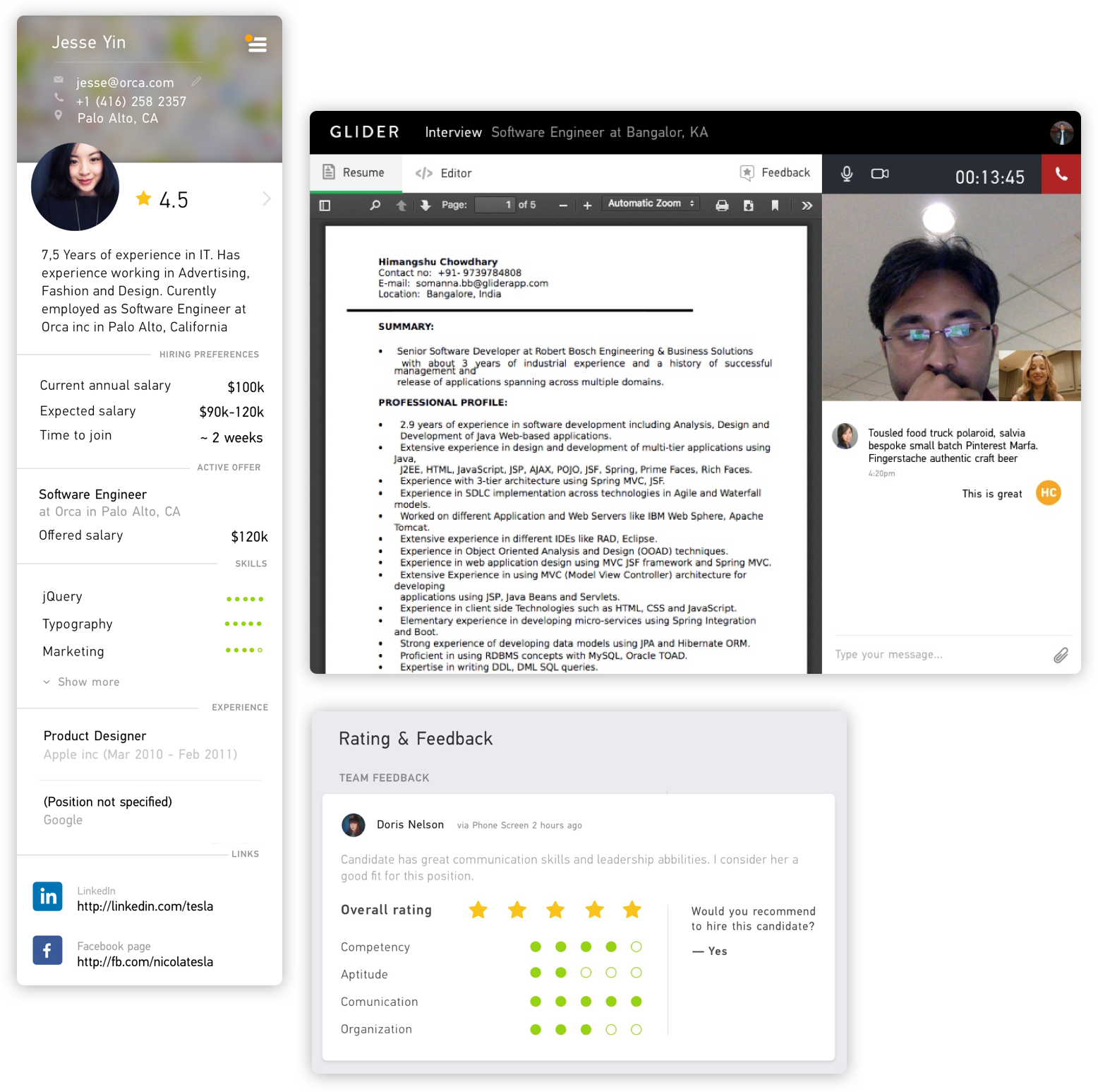 glider ai hire best candidates using online assessments and test scores and comparison other candidates any video recordings prior showcased work notes and comments the interviewer can ask pertinent