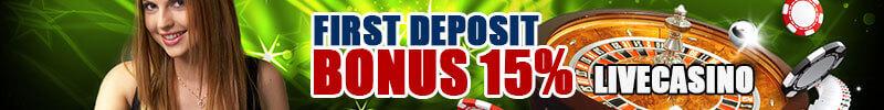 Bonus Deposit Pertama 15% Live Casino