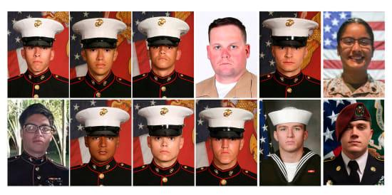12 חיילי וחיילות מארינס אמריקאים, שנהרגו בפיגוע בקאבול בשבוע שעבר / צילום: Associated Press
