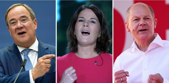 מימין: אולף שולץ, אנלנה ברבוק וארמין לאשט / צילום: Associated Press, Markus Schreiber, Michael Sohn