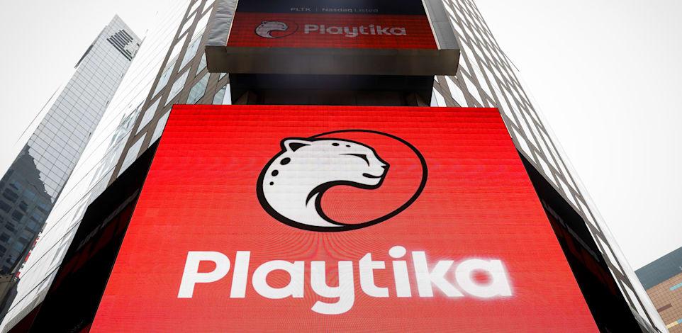 מסך ענק בטיימס סקוור מציג את הלוגו של חברת פלייטיקה בעת הנפקת החברה בוול סטריט / צילום: Reuters, Brendan McDermid