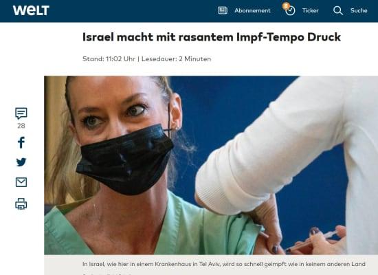 כותרת באתר די ולט שמתייחסת למבצע החיסון בישראל / צילום: צילום מסך