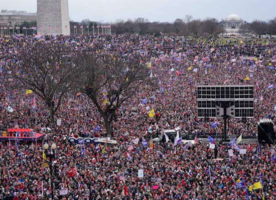 מפגינים שהגיעו לוושינגטון מאזינים לנאום טראמפ ליד אנדרטת וושינגטון / צילום: Associated Press, Jacquelyn Martin