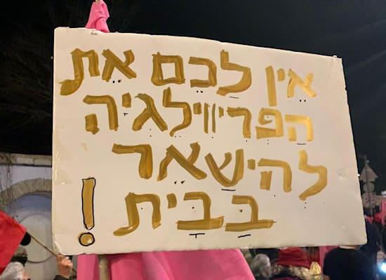 שלט מחאה בצעדה לעבר בלפור / צילום: ניצן שפיר
