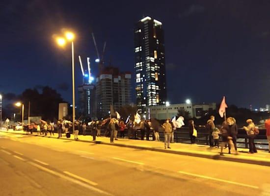 הפגנה נגד ראש הממשלה בצומת ההלכה בתל אביב / צילום: הדגלים השחורים