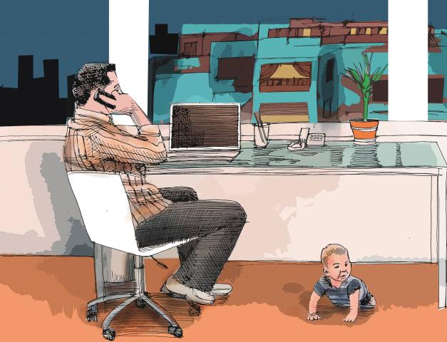 העובדים עברו לזום / איור: גיל ג'יבלי
