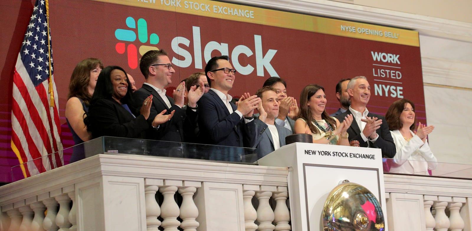 מנהלי חברת סלאק, בתחילת המסחר במניית החברה, יוני 2019 / צילום: Reuters, Brendan McDermid