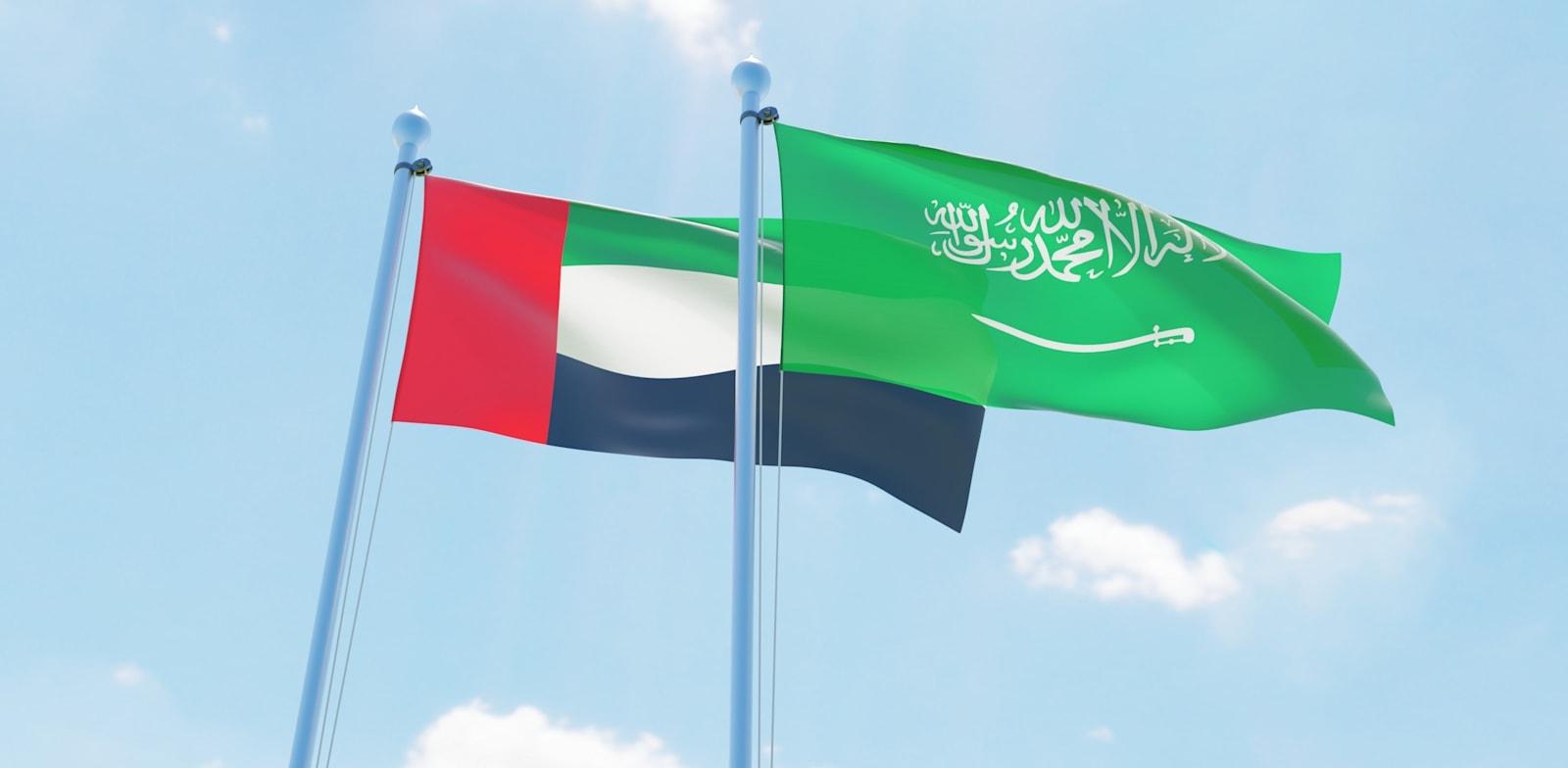 דגלי איחוד האמירויות וערב הסעודית / צילום: שאטרסטוק