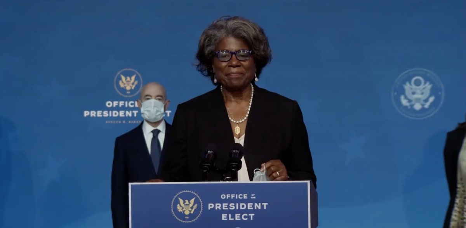 """לינדה תומס־גרינפילד, השגרירה החדשה של ארה""""ב באו""""ם. רגע של אופוריה / צילום: Reuters, Sipa USA"""