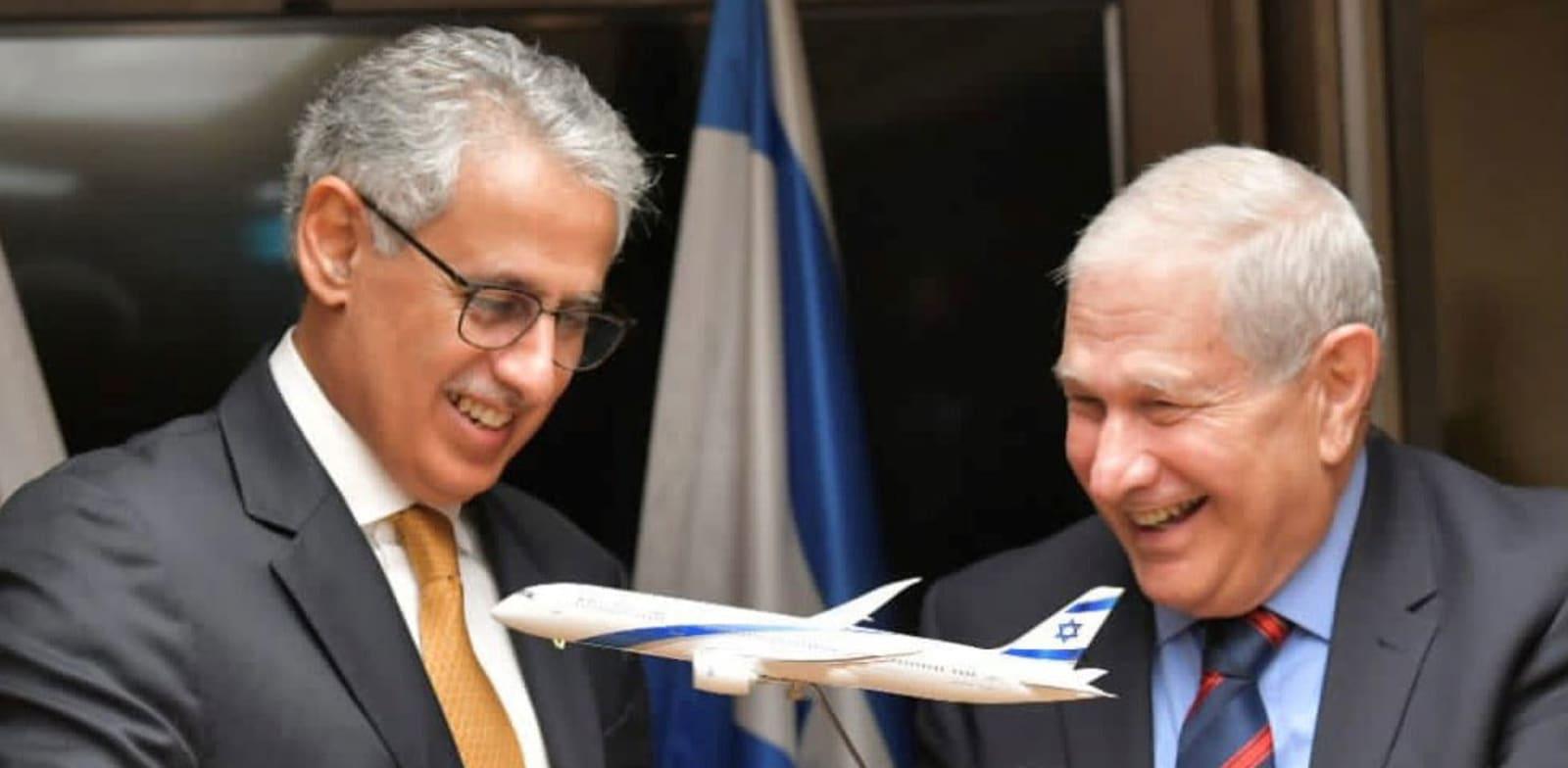 """יו""""ר אל על דוד ברודט ושר הכלכלה של בחריין זיאד אל זיאני / צילום: דוברות אל על"""