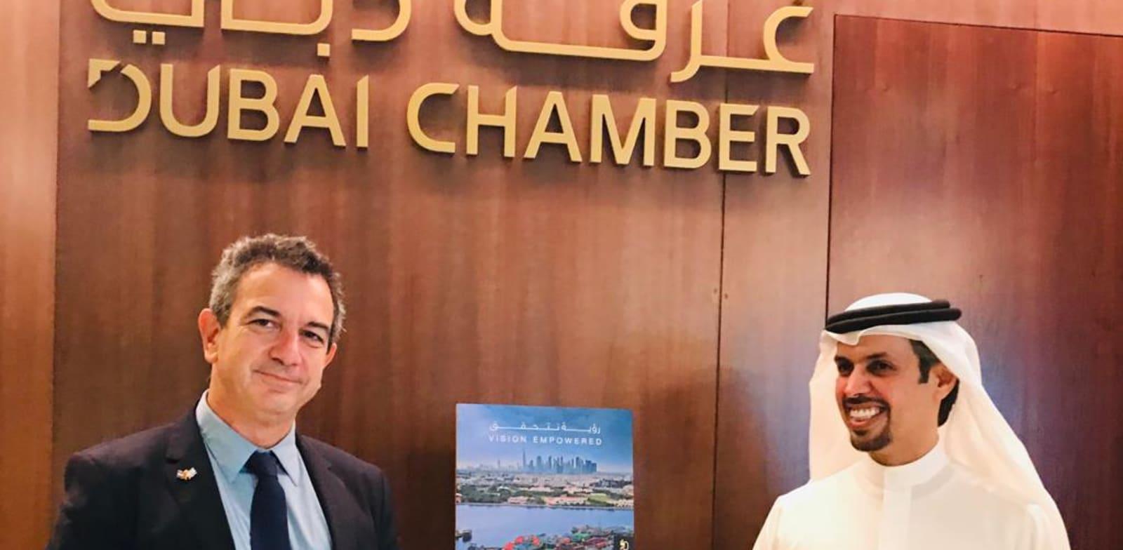 """נשיא ומנכ""""ל לשכת המסחר של דובאי, חמאד בועמים, ורון תומר, יו""""ר התאחדות התעשיינים / צילום: התאחדות התעשיינים"""