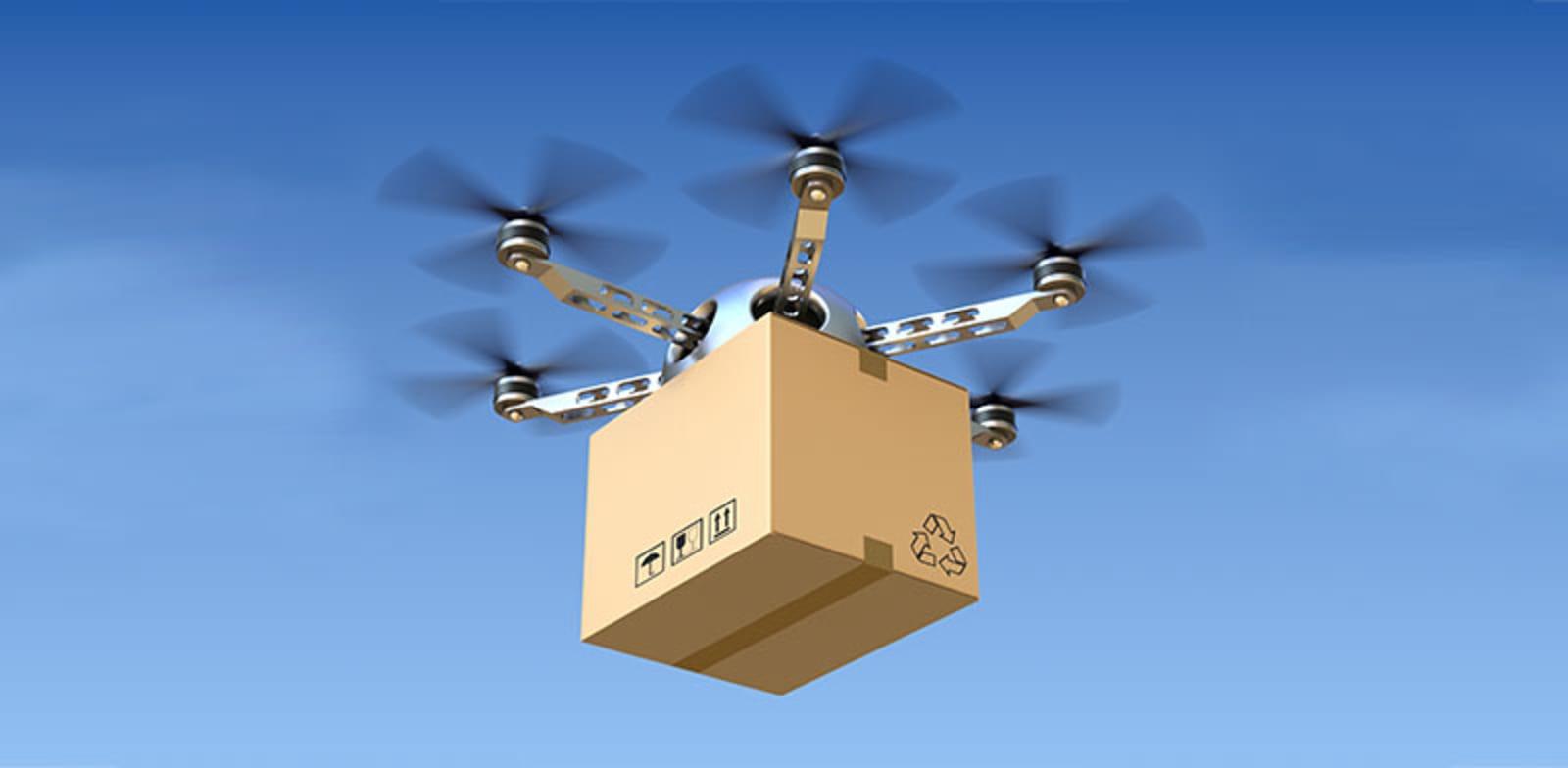 שדה רחפן עם חבילה.  לשרת שכונה שלמה חובה / צילום: Shutterstock