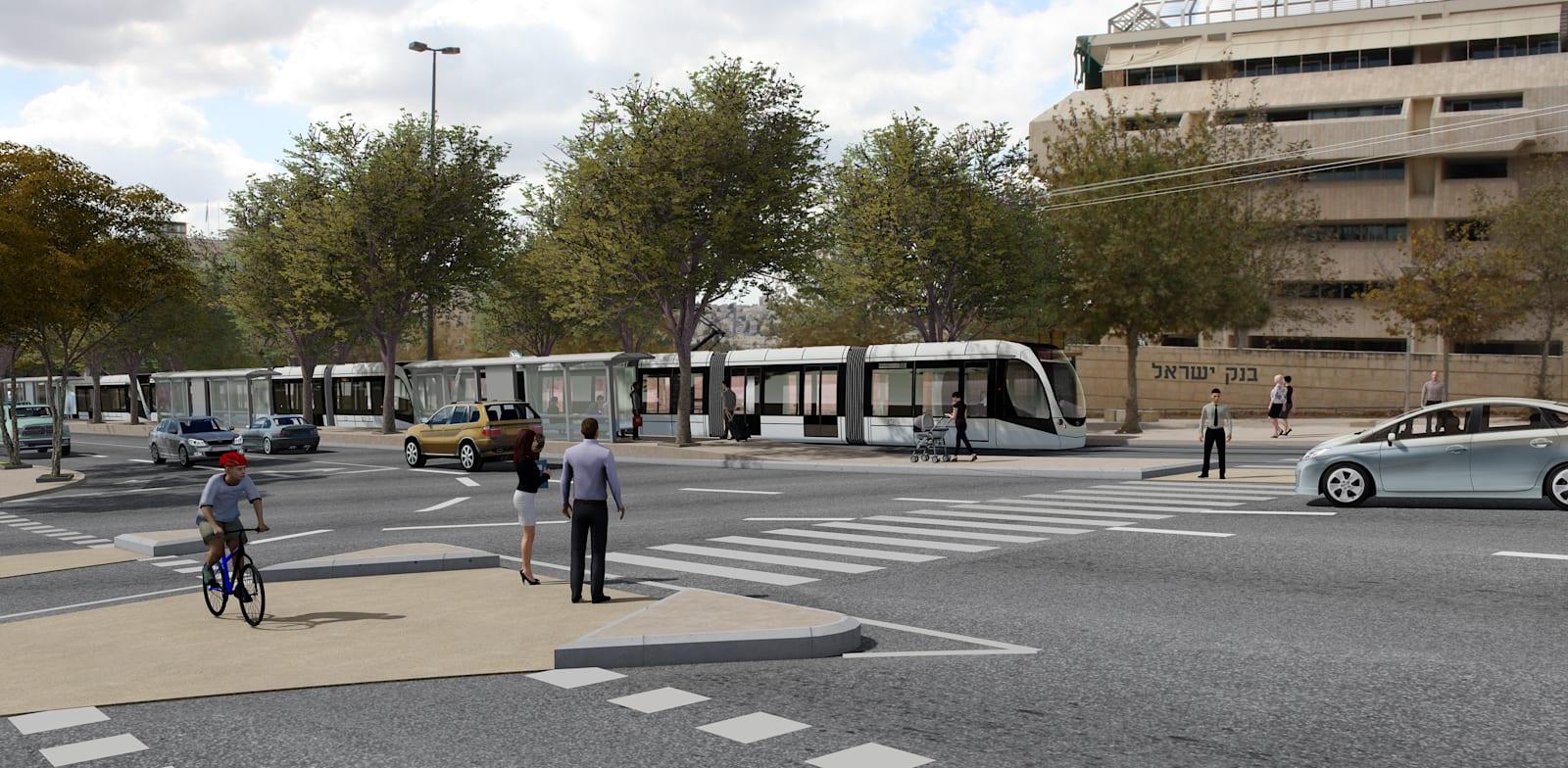 הקו הזהוב / הדמיה: תוכנית אב לתחבורה ירושלים.