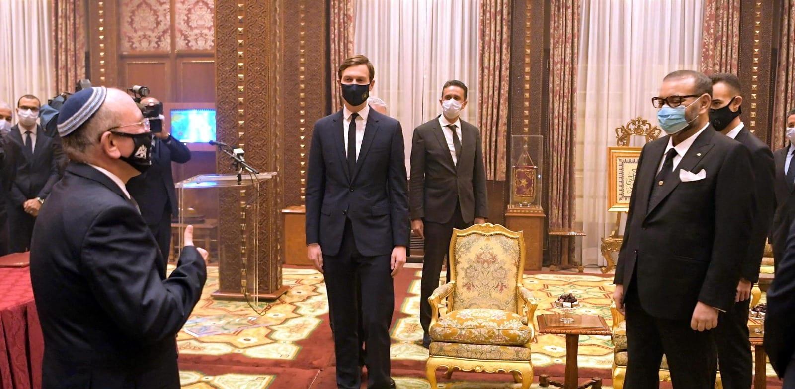 """ראש המל""""ל וג'ראד קושנר בפגישה עם מלך מרוקו / צילום: דוברות הכנסת עמוס בן גרשום"""