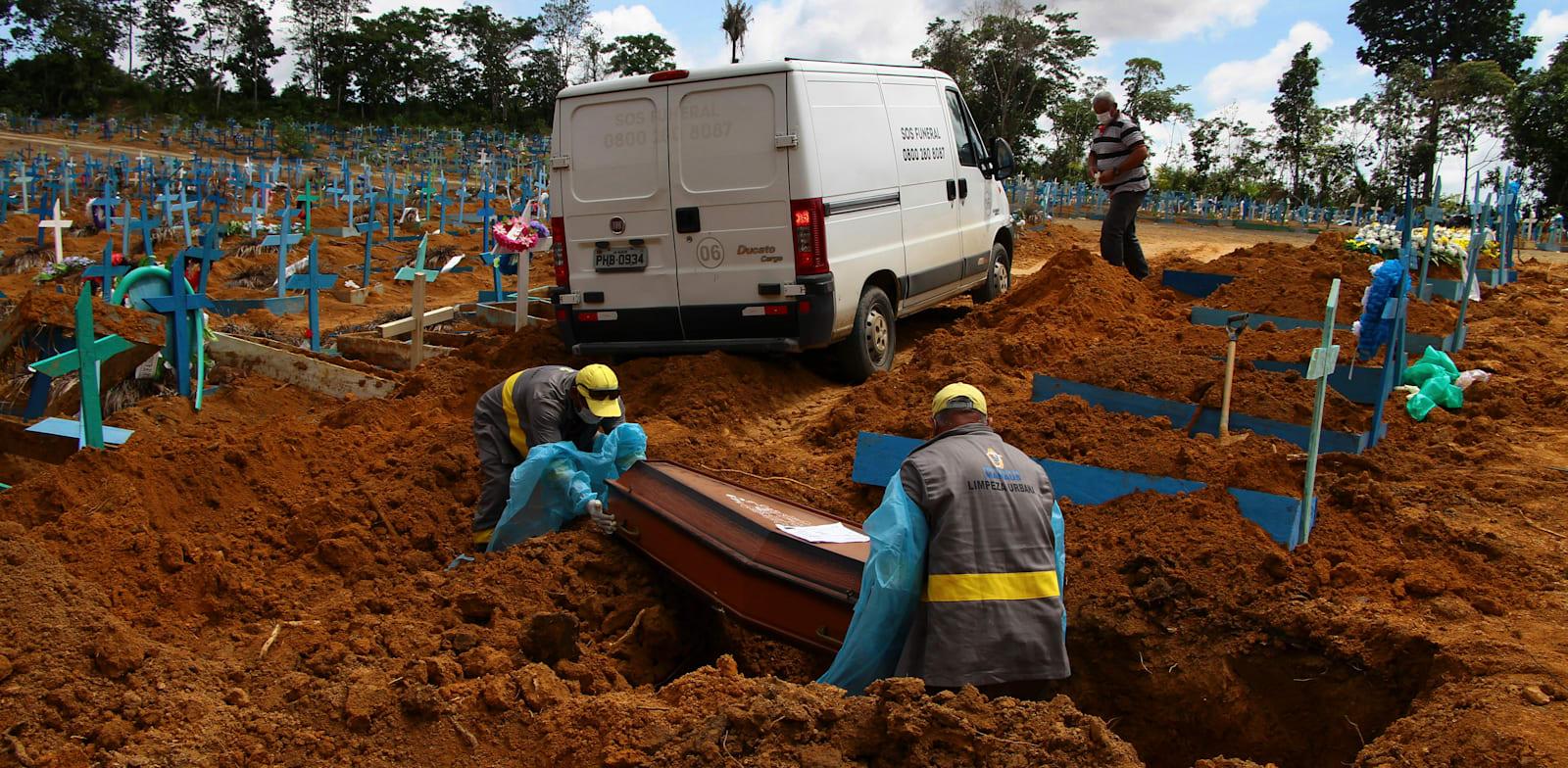 קברים טריים של חולי קורונה בבית קברות במנאוס,ברזיל, בשבוע שעבר / צילום: Associated Press, Edmar Barros