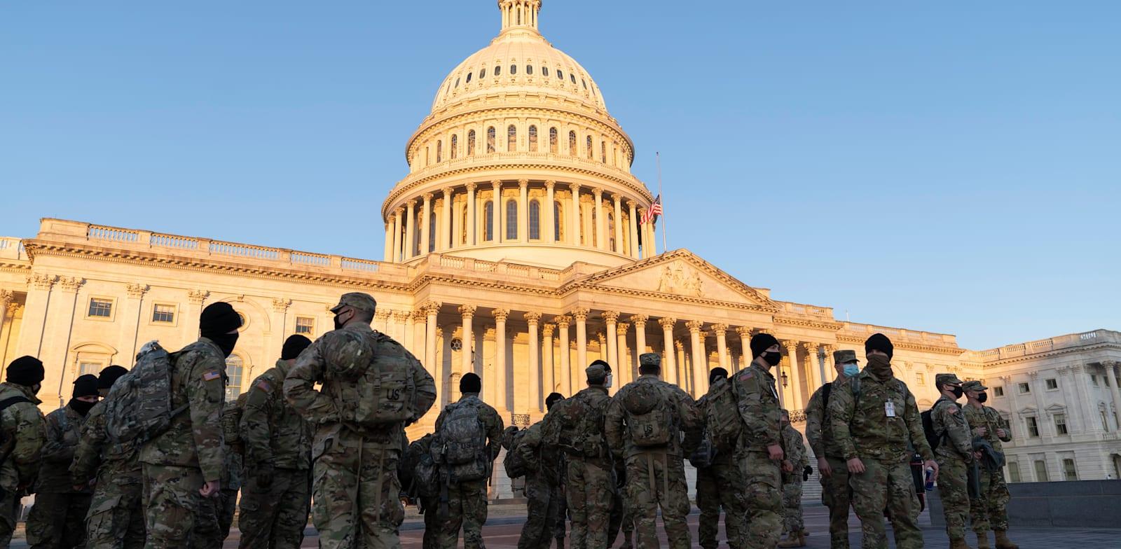 המשמר הלאומי נפרש בגבעת הקפיטול ביום שלישי שעבר / צילום: Reuters, Sipa USA