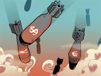 מלחמת מטבעות , סימן דולר יורו , טיל טילים / איור: עומר הופמן