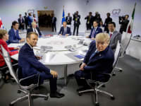 פסגת G7 בצרפת, 2019. המנהיגים האירופאים שמחים שסוף־סוף יש בצד השני מנהיג שאינו עולב בהם או מתקשר לצעוק עליהם אישית / צילום: Associated Press, Andrew Harnk