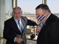 """מימין: מזכיר המדינה של ארה""""ב מייק פומפאו וראש הממשלה בנימין נתניהו / צילום: לע""""מ, עמוס בן גרשום"""