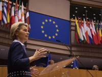 אורסולה פון דר-לאיין נואמת בפני הפרלמנט האירופי / צילום: John Thys