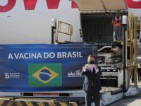 מושל סאו פאולו ז'ואאו דוריה מקבל את משלוח החיסונים של סינובאק / צילום: Reuters, Amanda Perobelli