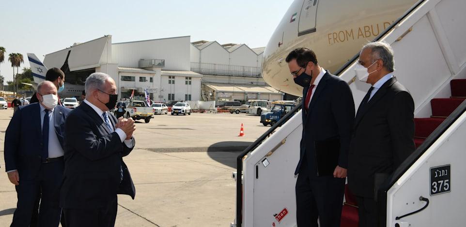 """קבלת פנים בשדה התעופה למשלחת איחוד האמירויות, במעמד רה""""מ נתניהו. מבצע צבאי ראשון על רקע הסכמי השלום / צילום: עמוס בן גרשום - לע""""מ"""