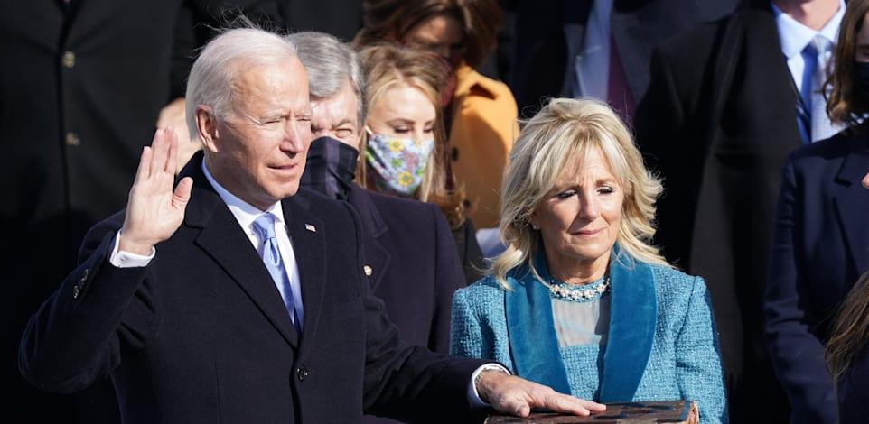 """ג'ו ביידן מושבע לנשיאות ארה""""ב / צילום: Reuters, Kevin Lamarque"""