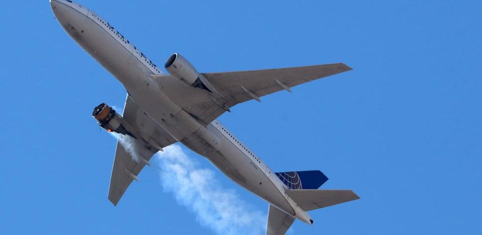 המנוע של טיסה 382 עולה באש באוויר / צילום: Reuters, Hayden Smith/@speedbird5280/Handout