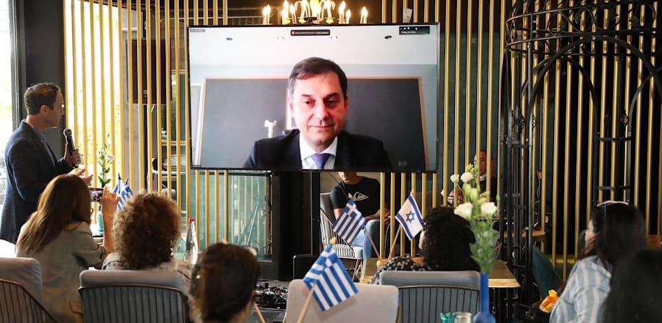 שר התיירות היווני האריס תיאוהאריס במסיבת העיתונאים של מלונות בראון / צילום: יחצ רפי  דלויה