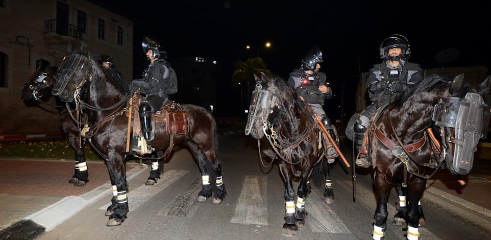 כוחות משטרה בלוד אמש / צילום: איל יצהר