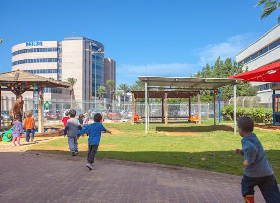 """גן ילדים בפארק מת""""ם בחיפה. ההבדל בין פארק משרדים לאזור של מפעלים / צילום: יח""""צ"""